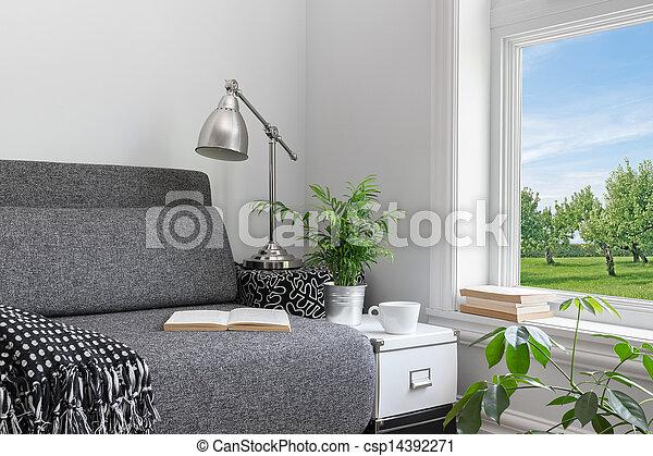 gyönyörű, lakberendezési tárgyak, modern hely, kilátás - csp14392271