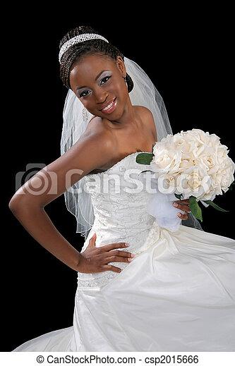gyönyörű, menyasszony, amerikai, afrikai, portré - csp2015666