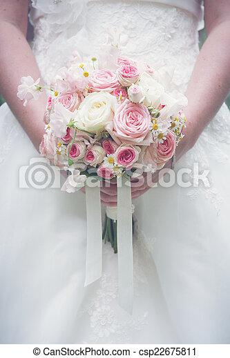 gyönyörű, menyasszony, bouquet., birtok, esküvő - csp22675811