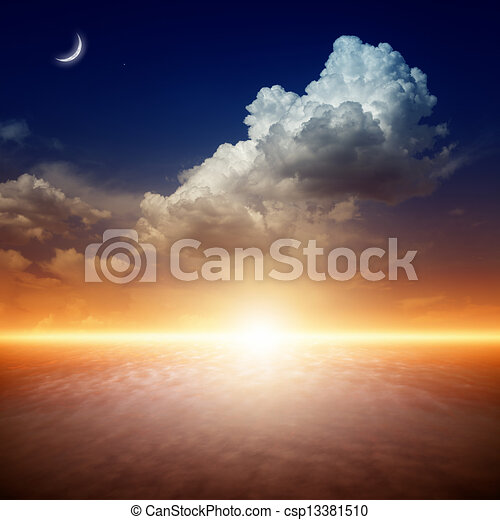 gyönyörű, napnyugta - csp13381510