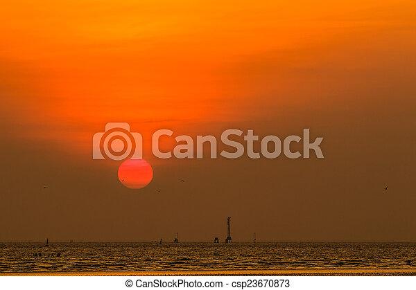 gyönyörű, napnyugta, felül, tenger - csp23670873