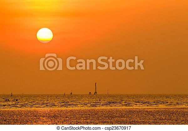 gyönyörű, napnyugta, felül, tenger - csp23670917