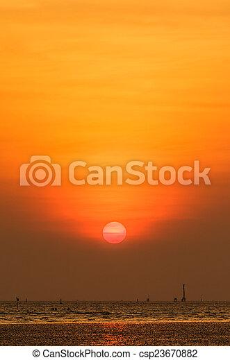 gyönyörű, napnyugta, felül, tenger - csp23670882