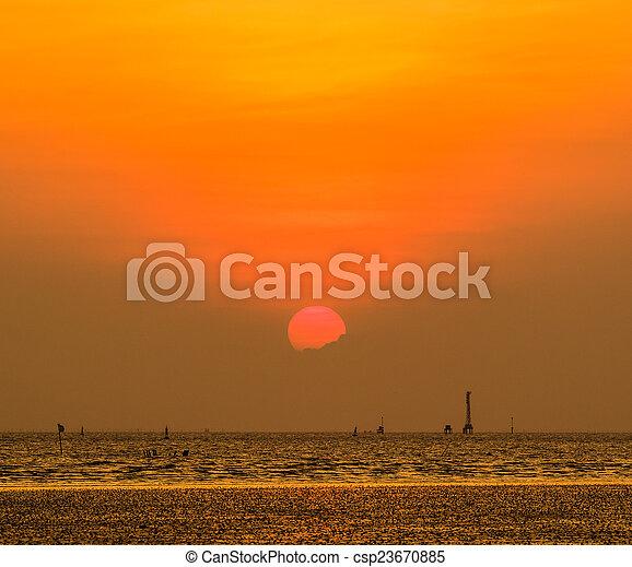 gyönyörű, napnyugta, felül, tenger - csp23670885