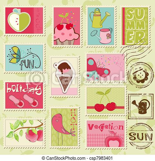 gyönyörű, nyár, állhatatos, -, summer-related, koton topog, vektor - csp7983401