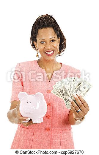 gyönyörű, pénz, nő, megmentés - csp5927670