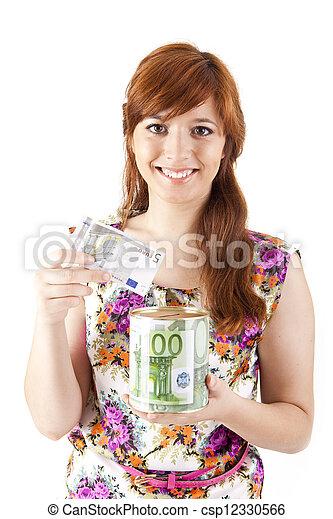 gyönyörű, pénz, nő, megmentés - csp12330566