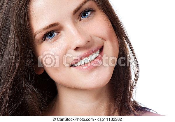 gyönyörű, teljes, nő, fiatal, mosoly, portré - csp11132382