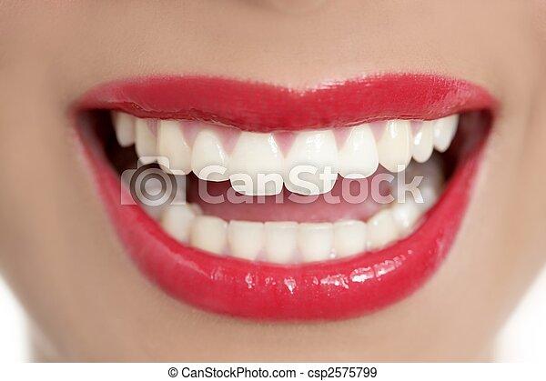gyönyörű, teljes, nő, fog, mosoly - csp2575799