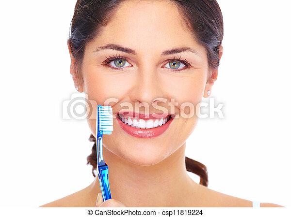 gyönyörű, toothbrush., nő, mosoly - csp11819224