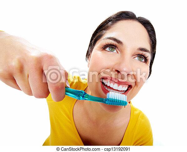 gyönyörű, toothbrush., nő - csp13192091