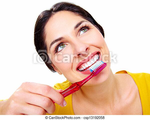 gyönyörű, toothbrush., nő - csp13192058