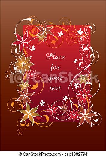 gyönyörű, virágos, keret, piros - csp1382794
