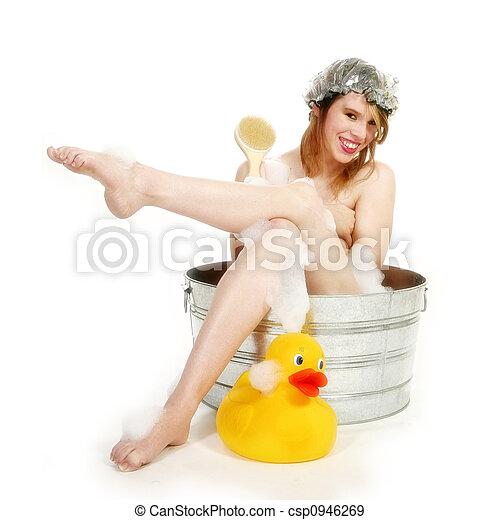 gyönyörű woman, fürdőkád - csp0946269