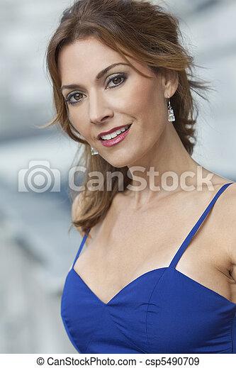 gyönyörű woman, harmincas, neki, fiatal, külső, portré - csp5490709