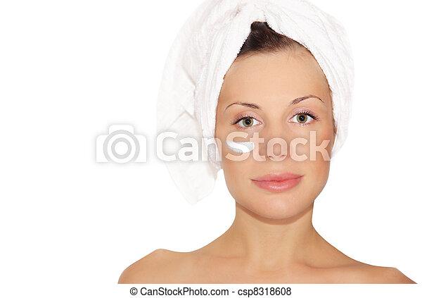 gyönyörű, zápor, nő, után - csp8318608