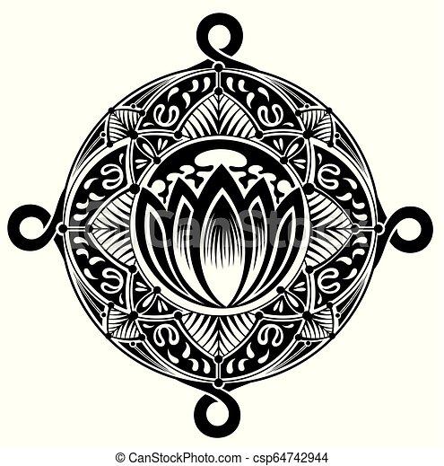 Gy433 Eps Flor Loto Elemento Desenho Oriental Tatuagem Estilo