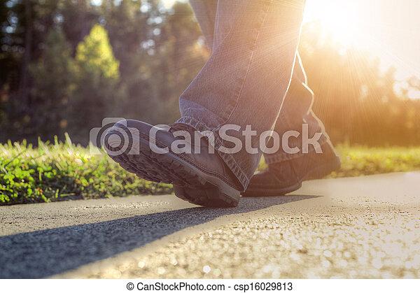 gyalogló, road., ember - csp16029813