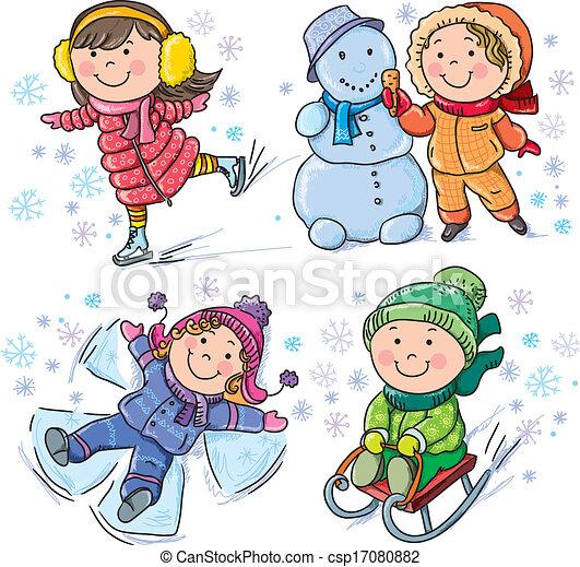 gyerekek, tél - csp17080882