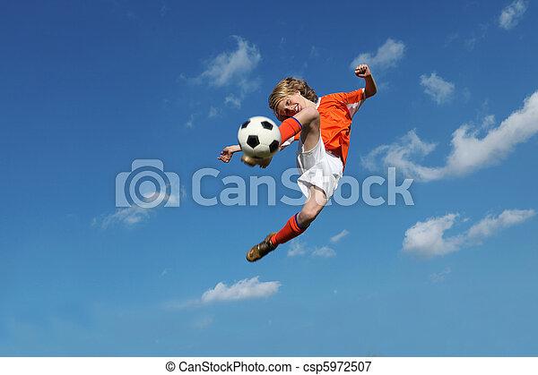 gyermek, futball, vagy, labdarúgás, játék - csp5972507