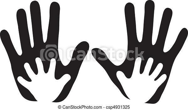 gyermekek, felnőtt kezezés - csp4931325