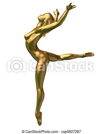 gylden, kvindelig nude, -, 3, statue - csp5827287