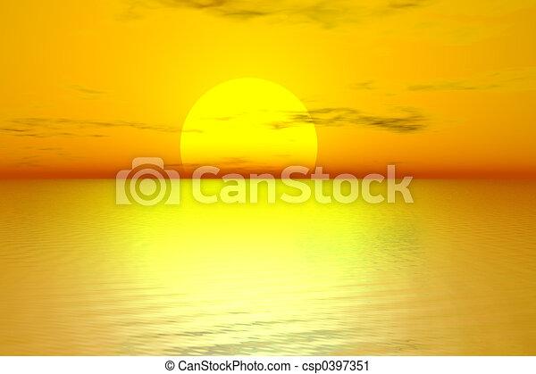 gylden, solopgang - csp0397351