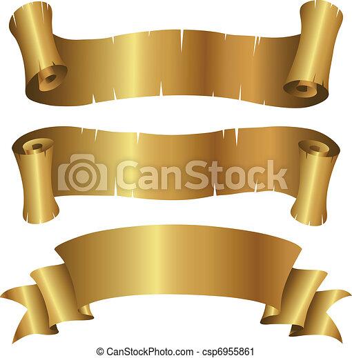 gyllene, baner, sätta, lockig - csp6955861