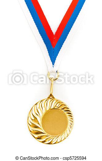 gyllene, bild, mall, medalj, din, tom - csp5725594