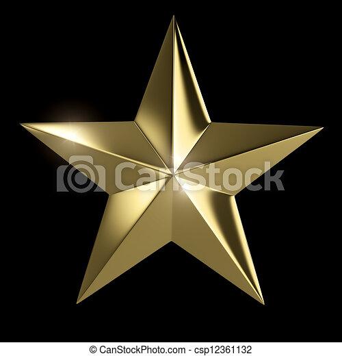 gyllene, klippning, stjärna, isolerat, svart fond, bana - csp12361132