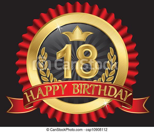födelsedag 18 år Gyllene, labe, 18, år, födelsedag, lycklig. Gyllene, 18, år  födelsedag 18 år