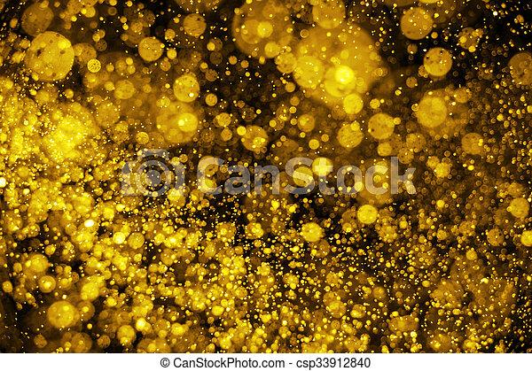 gyllene, lyse, defocused, bakgrund, glitter, jul - csp33912840