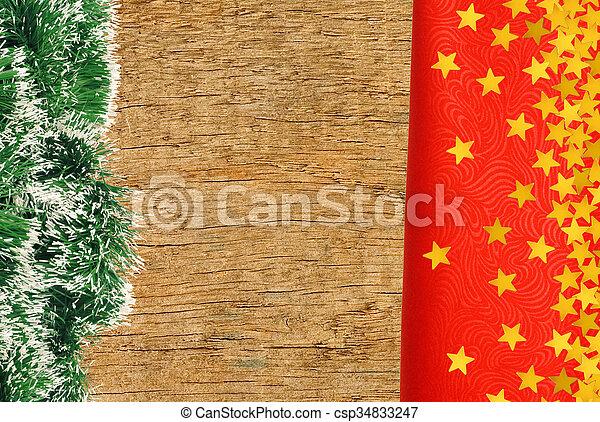 gyllene, närbild, stjärnor, trä, över, struktur, tyg, bakgrund, röd - csp34833247