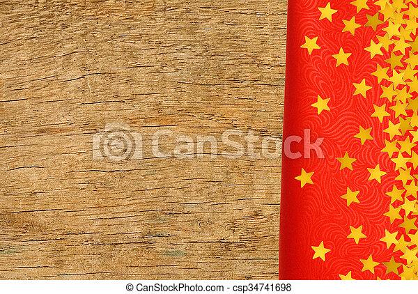 gyllene, närbild, stjärnor, trä, över, struktur, tyg, bakgrund, röd - csp34741698