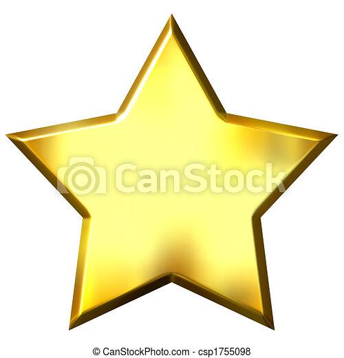 gyllene, stjärna, 3 - csp1755098