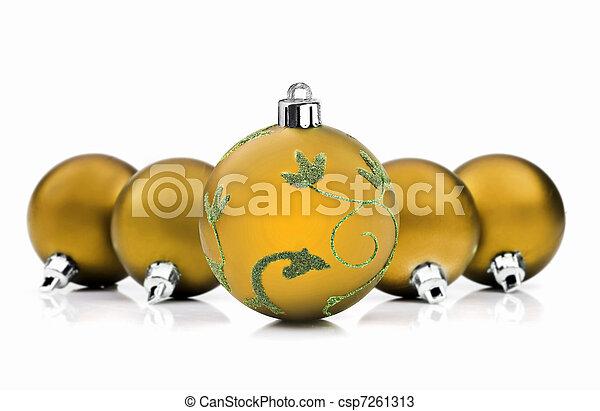 gyllene, struntsak, utrymme, text, bakgrund, vit jul - csp7261313