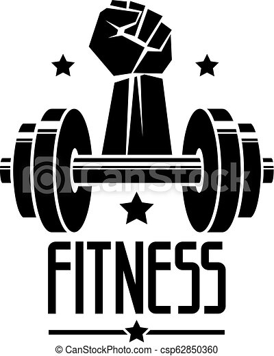 Gym And Fitness Logo Template Retro Style Vector Emblem With Barbell And Strong Hand Fist Canstock