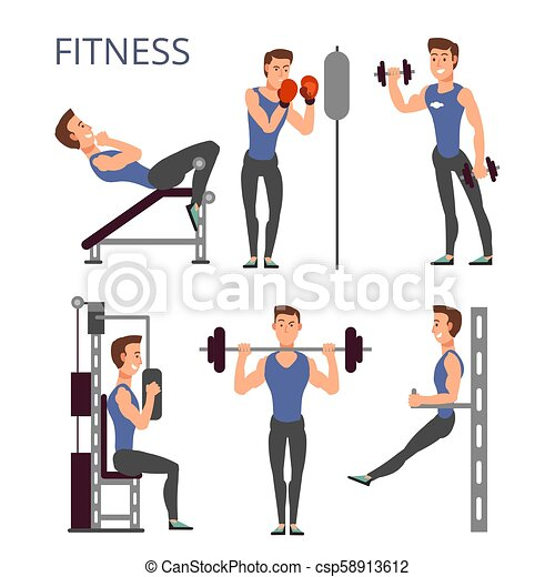 Ongebruikt Gym exercises, body pump workout vector set with cartoon sport man SX-14