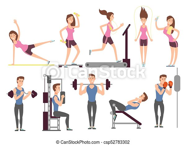 Gym Exercises Body Pump Workout Vector Set With Cartoon Sport Man And Woman Characters Fitness People In Gym Sport And