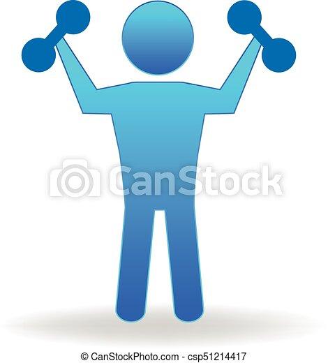Gym fitness figure people logo - csp51214417