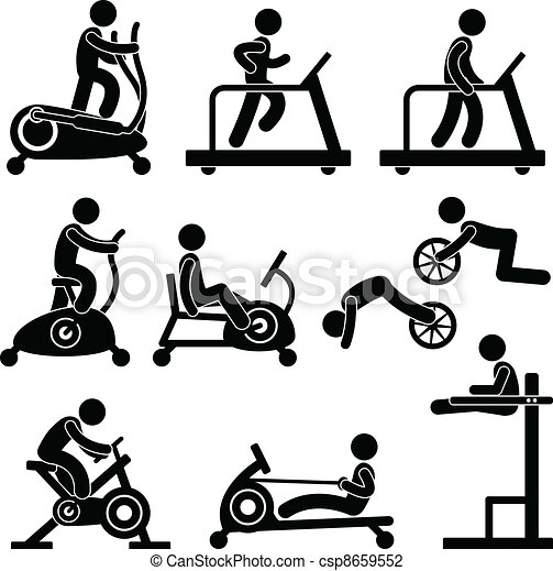 gym gymnasium fitness exercise a set of pictogram showing a rh canstockphoto com  physical fitness clipart