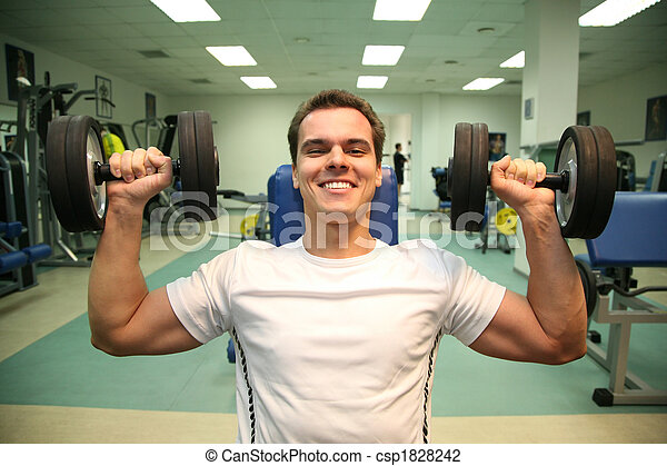 gym man with dumbbells 3 - csp1828242