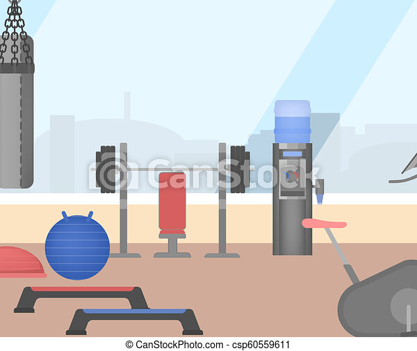 Gym room interior with sport equipment inside collection of