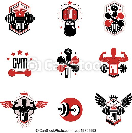 gym weightlifting and fitness sport club logos retro stylized rh canstockphoto com weight lifting log sheet weight lifting log