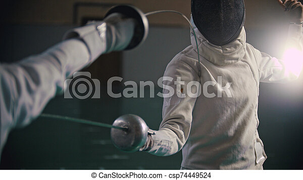 gymnase, baston, fencer's, école, image - csp74449524
