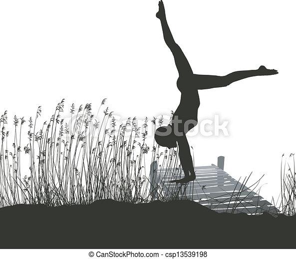 Gymnast on the pier - csp13539198
