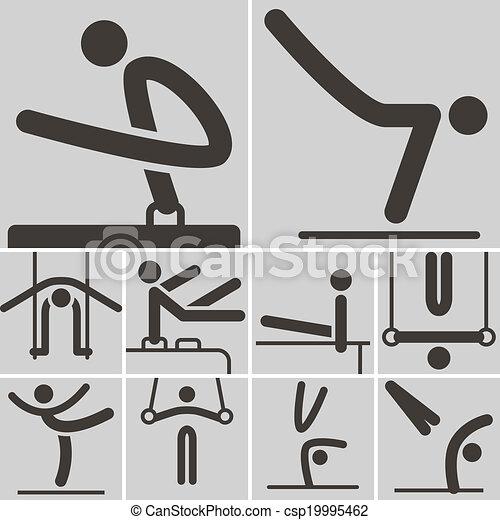 Gymnastics Artistic icons - csp19995462