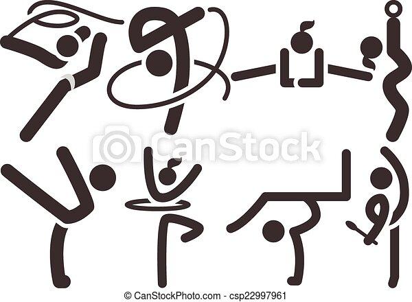 Gymnastics Rhythmic icons - csp22997961
