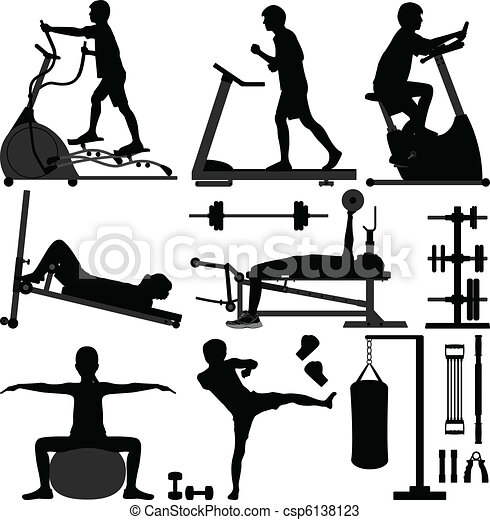 gymnastiksal, mand, workout, udøvelse, gymnastiksal - csp6138123