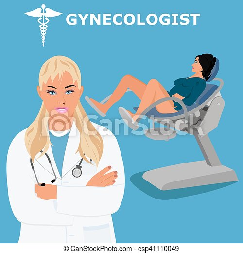 gynecologist woman doctor vector illustration